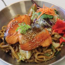 Teriyaki Salmon Yaki Udon (gluten free) - Metling Pot Tauranga